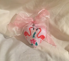 """Pink Flamingo and Flower Heart Ornament 3"""" Ribbon Bow - $9.99"""