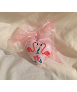 "Pink Flamingo and Flower Heart Ornament 3"" Ribbon Bow - $9.99"
