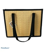 NWT Baskets Of Cambodia Tatami Bamboo Tote Black/Tan Medium - $38.61
