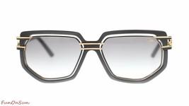 Cazal Rectangular Sunglasses CZ9066 002SG Shiny Black Gold/Grey Lens 58mm - $290.03