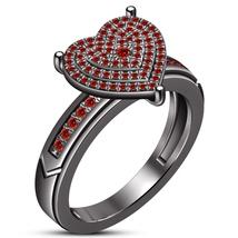Heart Shape Engagement Ring Red Garnet 10k Black Gold Finish 925 Sterlin... - $108.09 CAD