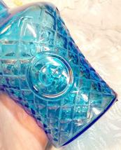 VINTAGE CRISS CROSS DIAMOND PATTERN KNIGHT AQUAMARINE BLUE BOTTLE MADE IN TAIWAN image 3