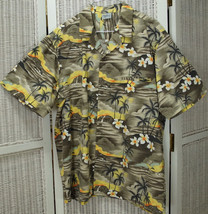 """ROYAL CREATIONS Vintage Hawaiian Shirt XL 51"""" Chest Palms Hibiscus Dolphins - $32.38"""