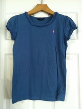 RALPH LAUREN TEENAGE GIRLS PRE-OWNED BLUE 100%COTTON CREW NECK T-SHIRT S... - $17.77
