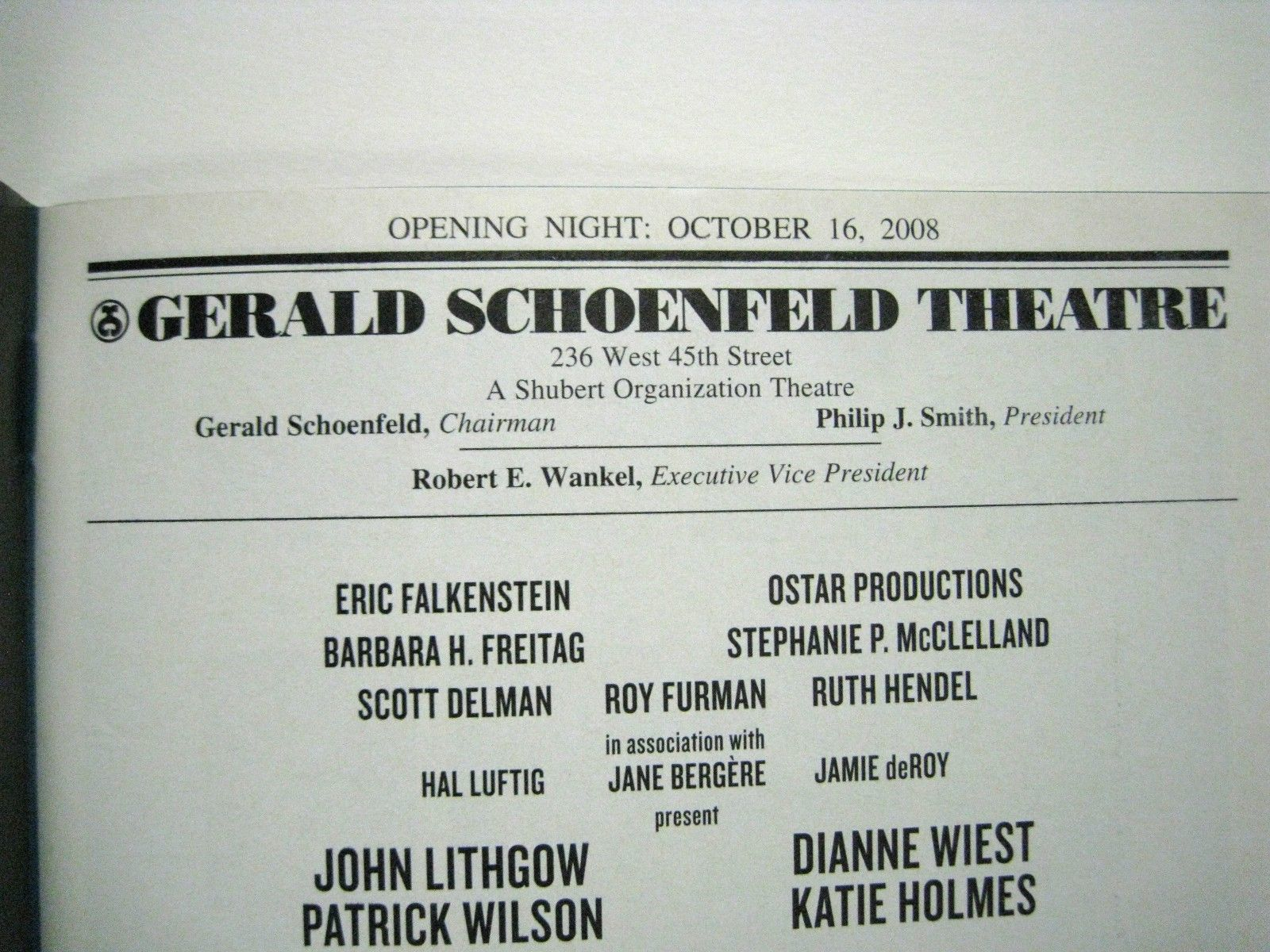 All My Sons Playbill 2008 Schoenfeld Theatre Opening Night Lithgow Dianne Wiest