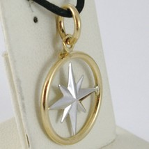 18K WHITE YELLOW GOLD 17 MM WIND ROSE COMPASS CHARM PENDANT, STAR, MADE IN ITALY image 2