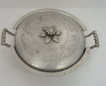 vintage everlast forged aluminum handle bowl with floral design lid cover