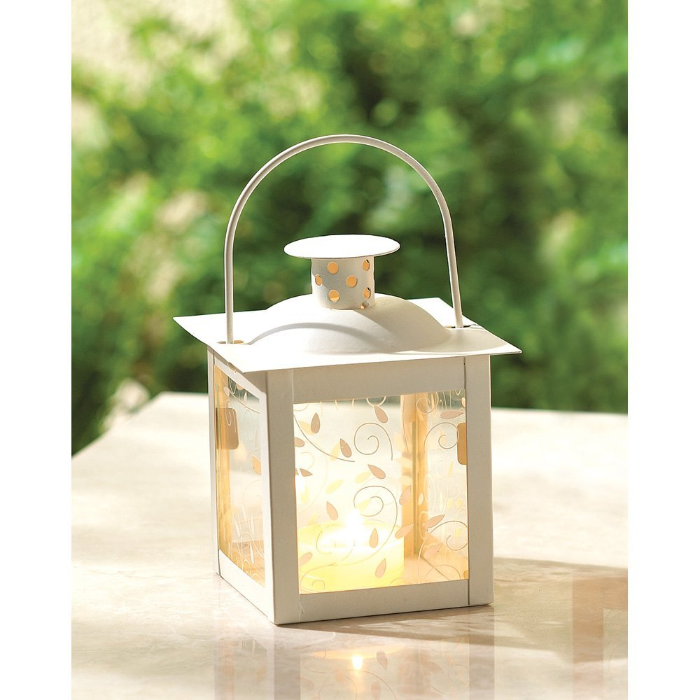 White Lantern Candle Holder, Antique Small Candle Lanterns Metal Decor image 2