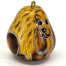 Handcrafted Carved Gourd Art Cocker Spaniel Puppy Dog Ornament Handmade in Peru image 4