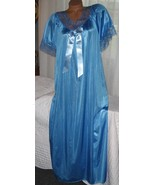 Royal Blue Nylon Long nightgown with Bow Size 3X Semi Sheer Lace Trim - $22.75