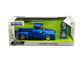 "1956 Ford F-100 Pickup Truck Blue ""Nitrous Express\"" (\""NX\"") with Extra Wheels - $42.22"