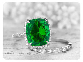 9mm Cushion Green Emerald 14k White Gold Over Art Deco Wedding Bridal Ring Set - $119.99