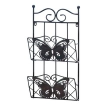 Decorative Wall Rack, Butterfly 2-tier Mail File Folder Magazine Rack Wa... - $40.59