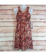 Buba Moda Brown & Rust Floral Print Sleeveless Midi Dress Medium NWT - $23.00