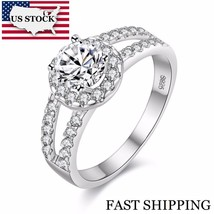 US STOCK 15% off Fashion Wedding Ring Silver Color for Women Charms Ring... - $10.75