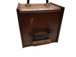 Vintage Antique Oak Wood Box Lid Scuttle Ash Coal Fireplace Liner Hearth Storage image 6