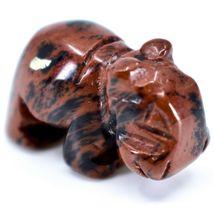 Mahogany Obsidian Gemstone Tiny Miniature Hippo Figurine Hand Carved in China image 5