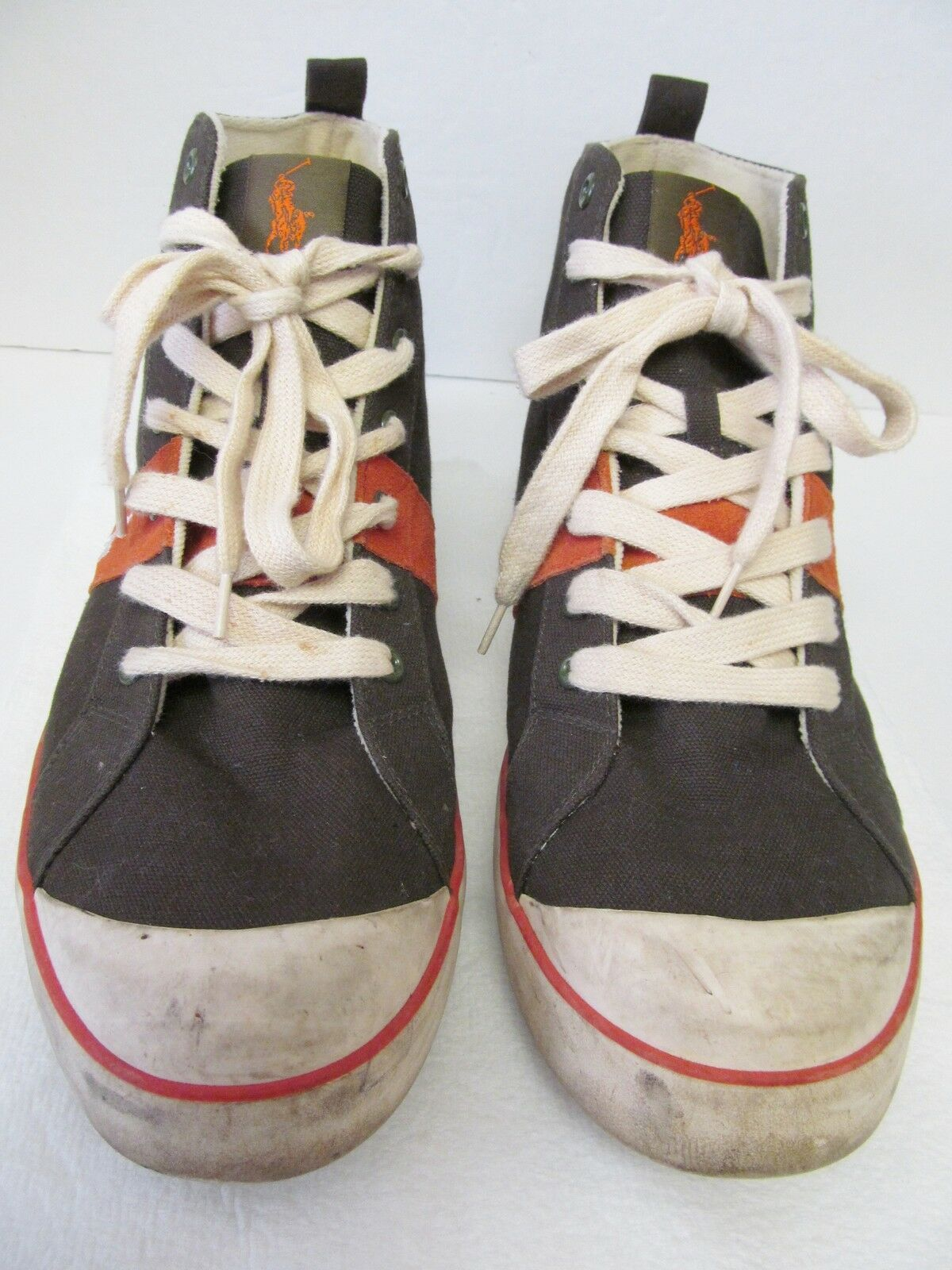 Polo Ralph Lauren Hi-Top Canvas Sneaker Shoes Athletic Fashion Black Orange 13 D