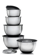 Mixing Bowl Set 5 Piece Stainless Steel Lids Nested Nesting Bowls Covers... - $900,69 MXN