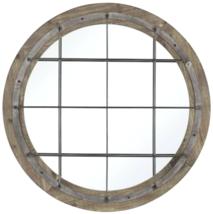 "32"" Round French Modern Restoration Farmhouse Port Wall Mirror Wood & Metal - $176.35"