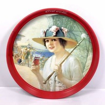 "Vintage 1987 Coca-Cola ""Girls At The Seashore"" Tin Metal Round Serving T... - $18.95"