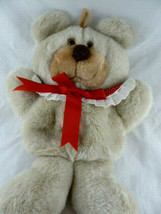 Vintage 1985 Hallmark Christmas Stocking Plush Teddy Bear Girl Red Colla... - $27.71