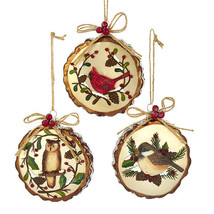 KURT ADLER SET OF 3 GLASS W00DLAND BIRDS OWL CARDINAL CHICKADEE XMAS ORN... - $32.88