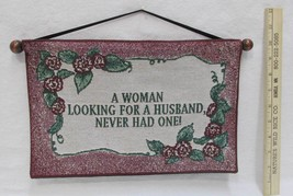 Wall Hanging Tapestry Woman Looking For Husband Ribbon Hanger With Woode... - $6.92