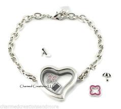 5pc Wholesale Lot Plain Silver Tone Heart Floating Charm Memory Locket Bracelet - $34.60