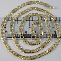 18K WHITE YELLOW ROSE GOLD CHAIN GOURMETTE BUBBLES 4 MM LINK 15.75 MADE IN ITALY image 1
