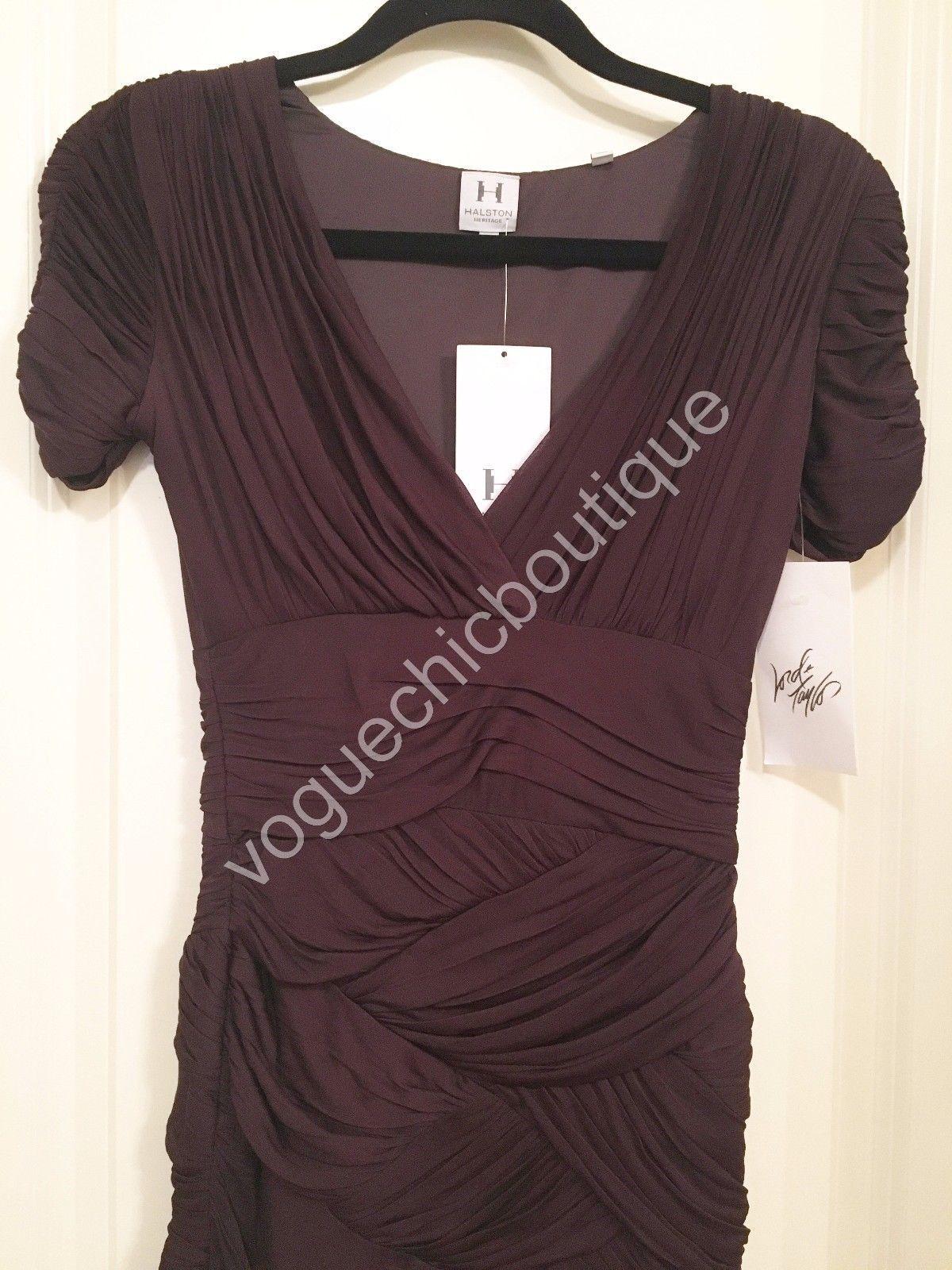 NWT Halston Heritage Ruched Jersey Mini Bodycon Dress Purple Aubergine XS 0 2 image 5