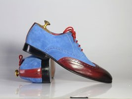 Blue Suede Burgundy Real Leather Wing Tip Burnished Laced Up Oxford Styl... - $139.99+