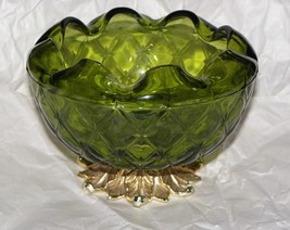 Indiana Glass Green Duette Quilted Diamond Rose Bowl with Metal Leaf Base - $16.34