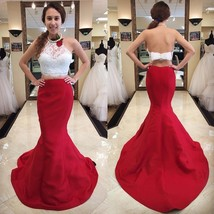 13856730181 Special Two Piece Red Mermaid Long Prom Dress with White Lace Top evenin.