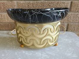 MCM Gold and Black Stringy TV Lamp Planter