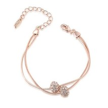 Austrian Crystals Iron Beads Rose Gold 2-Strand Rope Chain Bracelet - $34.70