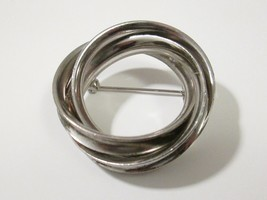 Chunky Twisted Open Circle Wreath Brooch Silver Tone Pin Estate Find - $6.99