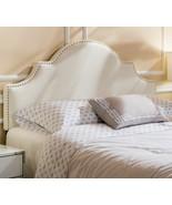 Fabric Headboard Queen Panel Beige Tufted Upholstered Nailhead Trim Meta... - $148.49