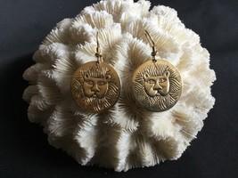 Vintage Laurel Burch Signed Earrings MARSH LION Face 1980s Goldtone Fren... - $15.97