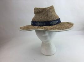 Rare COLUMBIA Straw Hat Panama Shark Fish Band Golf Hiking Norman Cap Si... - $14.72