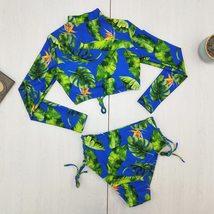 Women's Blue Tropical Leaf Pattern Long Sleeves lace eup Bikini Set Bra Beach Sw image 3