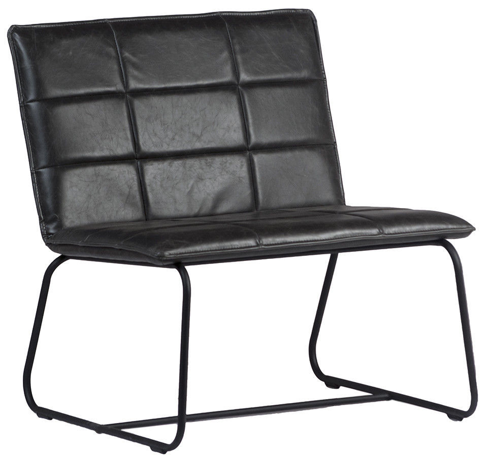 Mid Century Modern Chair Black Leather Accent Retro Home Furniture Decor,31''H