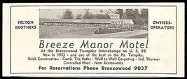 Breeze Manor Motel Ad Breezewood Pennsylvania 1954 Roadside Photo Ad Travel - $10.99