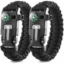 2x Compass Bracelet Flint Fire Starter Whistle Scraper Camping Fishing H... - $12.95