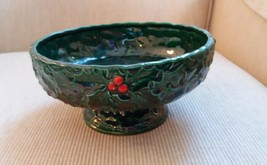 Vintage INARCO Holly & Berry Green & Red Planter Round - $12.00