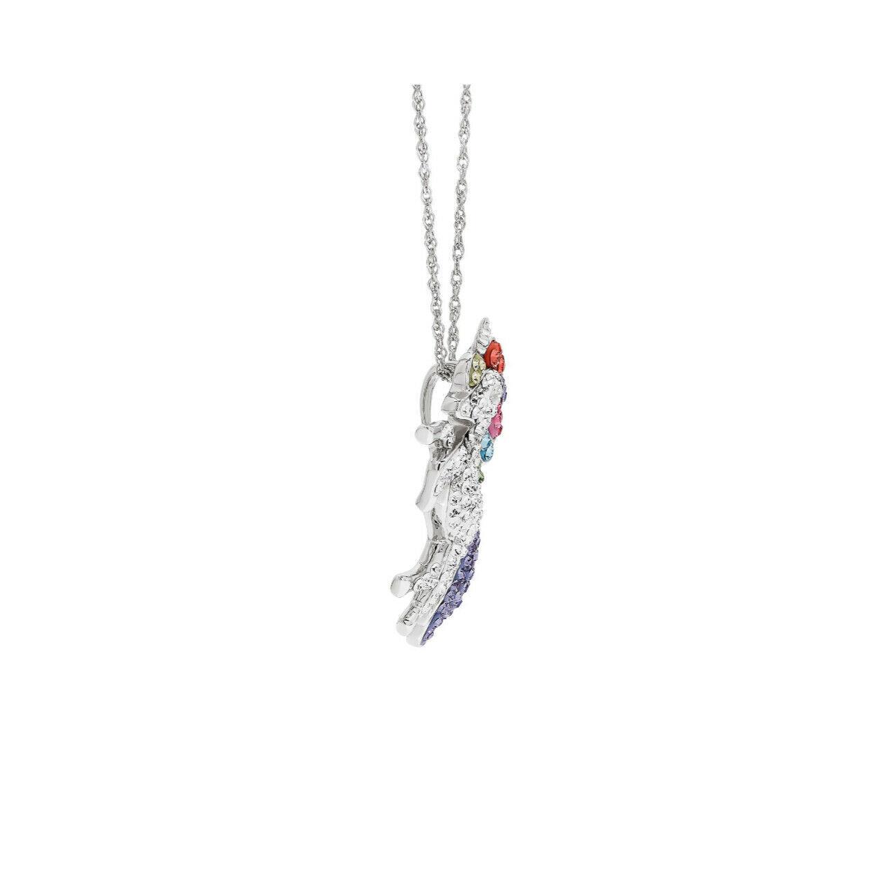 "Swarovski Sterling Silver Unicorn Pendant, 18"" Necklace Jewlery Crystals"