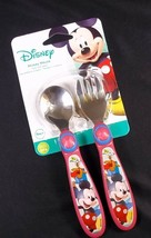 Disney Mickey Mouse spoon & fork flatware set easy grip handles NEW TOMY - $4.95