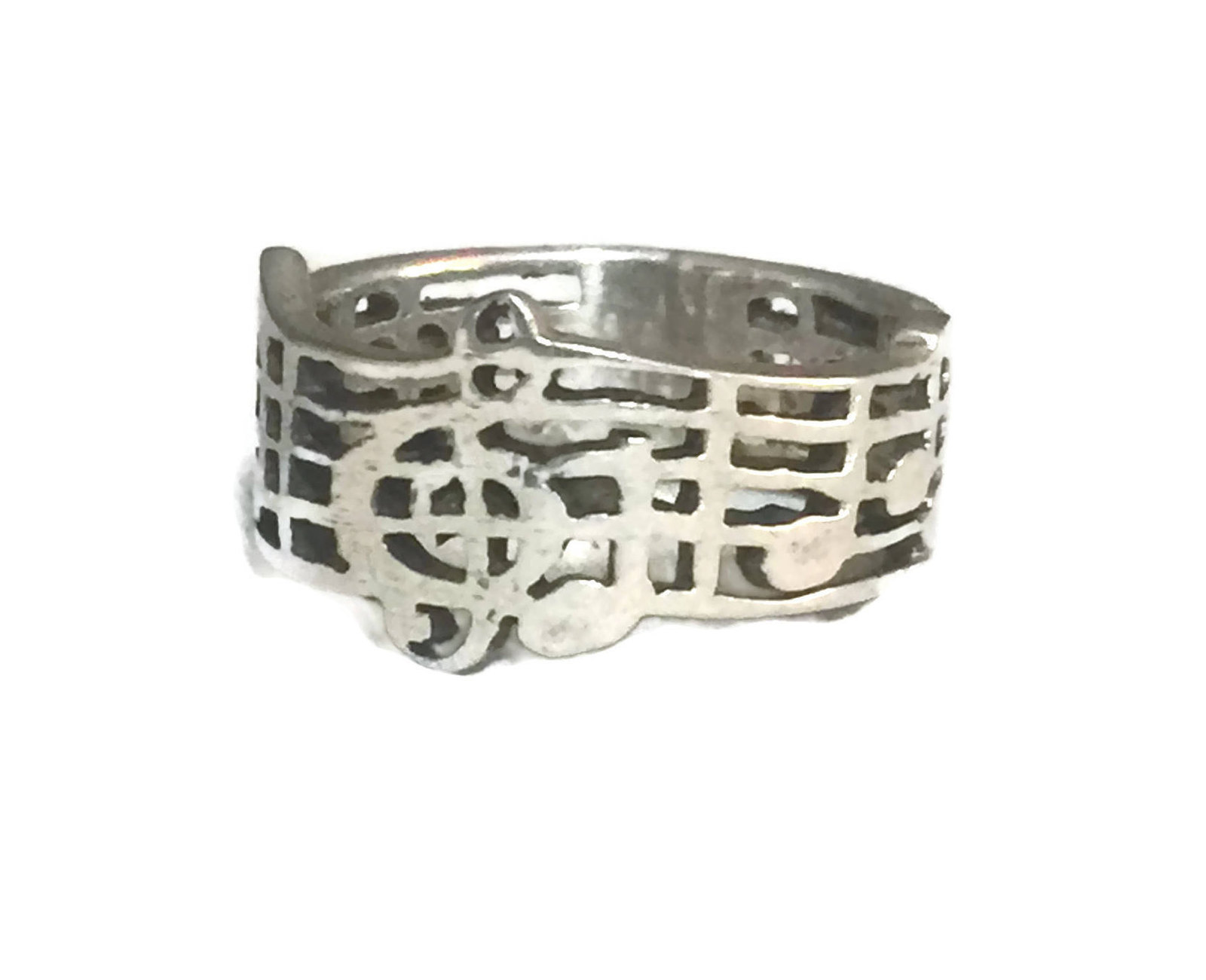 Vintage Music Musical Notes & Clef Sterling Silver Ring or Band Ring Size 6.25