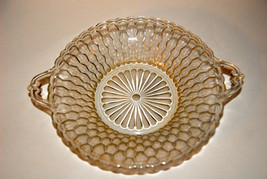"RELISH BOWL CLEAR  PRESSED GLASS HONEYCOMB INDIANA CLEAR 7 1/2 "" HANDLES... - $11.99"