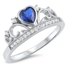 Sterling Silver Sapphire Blue Heart Tiara Ring - $37.46 CAD
